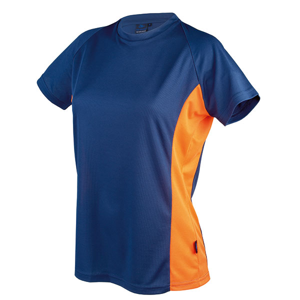 Ladies Sport- and Running T Contrast blau orange